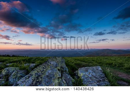 Lichen Covered Rocks at Sunset looking over Blue Ridge mountains