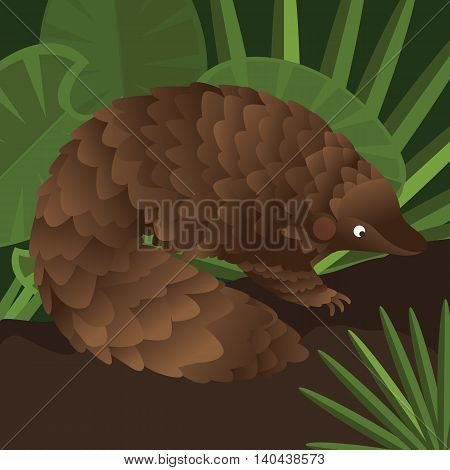 Pangolin between leaf in forest drawing illustration vector