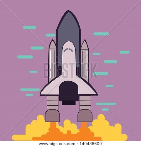 rocket launch space shuttle take off flat line style illustration vector