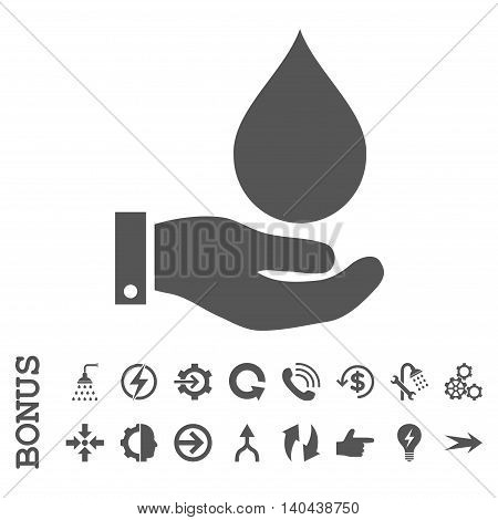 Water Service glyph icon. Image style is a flat pictogram symbol, gray color, white background.