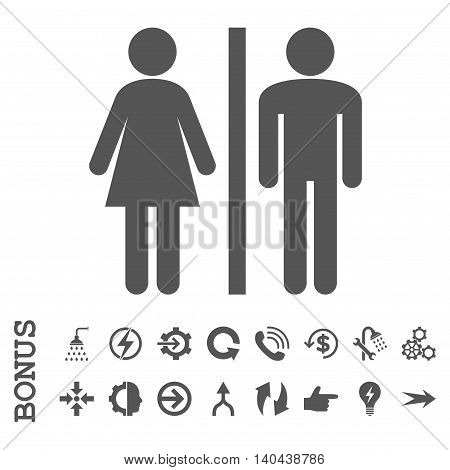 WC Persons glyph icon. Image style is a flat iconic symbol, gray color, white background.
