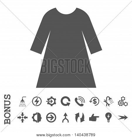 Woman Dress glyph icon. Image style is a flat pictogram symbol, gray color, white background.