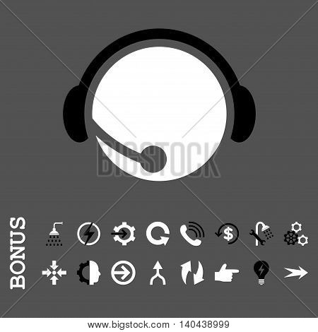 Call Center Operator vector bicolor icon. Image style is a flat pictogram symbol, black and white colors, gray background.