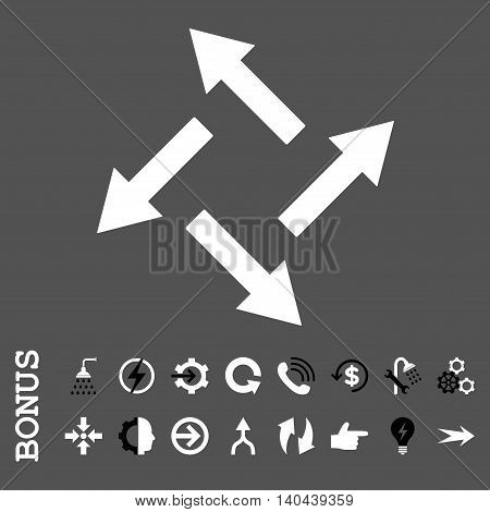 Centrifugal Arrows vector bicolor icon. Image style is a flat iconic symbol, black and white colors, gray background.