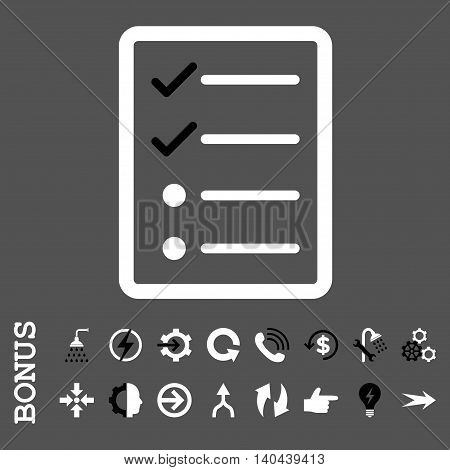 Checklist Page vector bicolor icon. Image style is a flat iconic symbol, black and white colors, gray background.