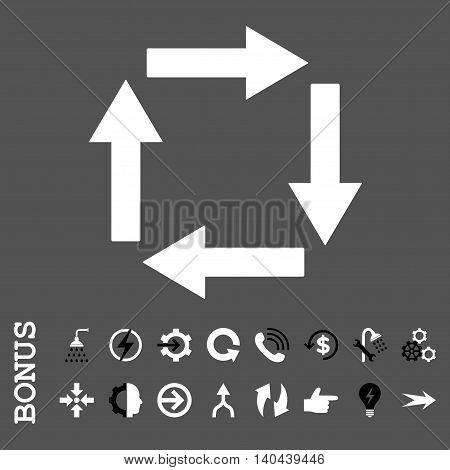 Circulation Arrows vector bicolor icon. Image style is a flat iconic symbol, black and white colors, gray background.