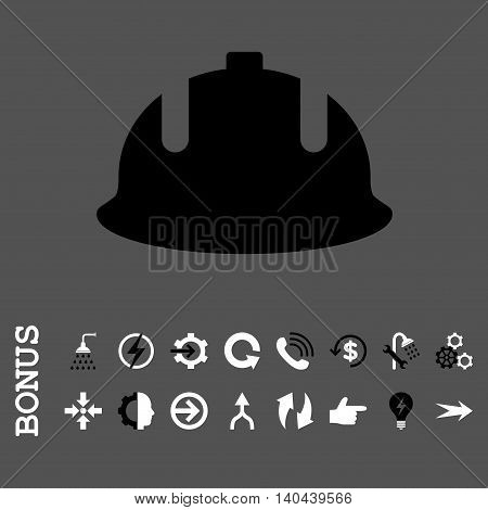 Construction Helmet vector bicolor icon. Image style is a flat iconic symbol, black and white colors, gray background.