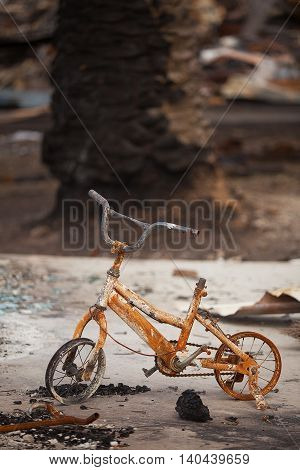 Childs bicycle destroyed by bushfire, Dunalley, Tasmania