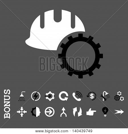 Development Hardhat vector bicolor icon. Image style is a flat pictogram symbol, black and white colors, gray background.