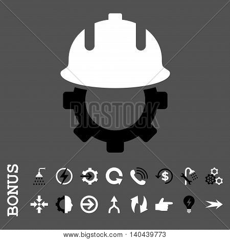 Development Helmet vector bicolor icon. Image style is a flat iconic symbol, black and white colors, gray background.