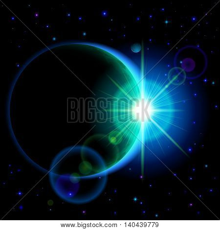 Space background. Dark planet with cyan radiance and bright flare among stars and other planets