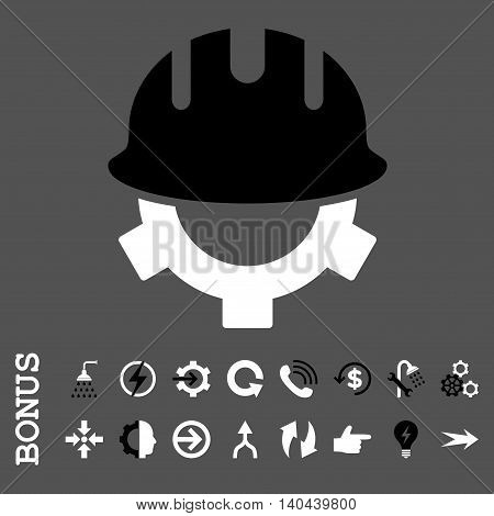 Development Helmet vector bicolor icon. Image style is a flat pictogram symbol, black and white colors, gray background.