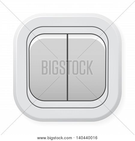White switch with two buttons isolated on white background