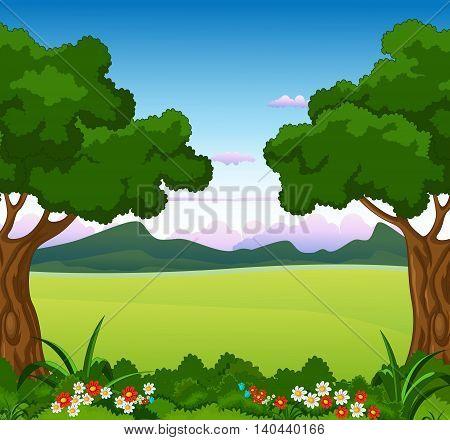 beauty green tree with flower garden landscape background