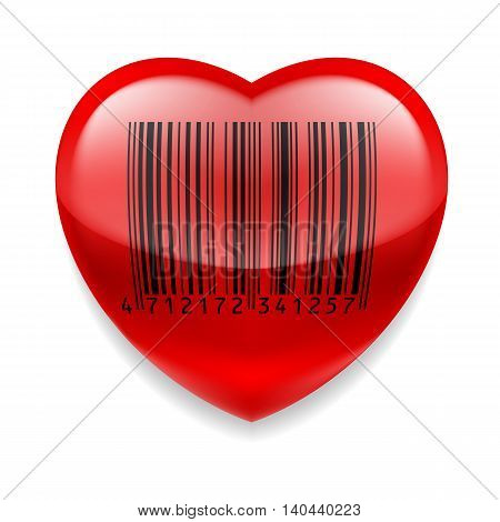 Shiny red heart with bar code over white