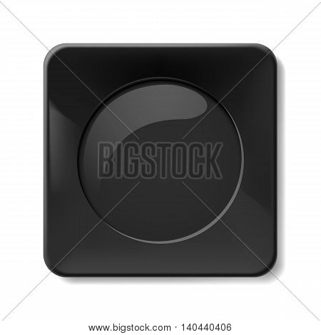 Illustration of flat black plate isolated on white background