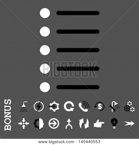 Items vector bicolor icon. Image style is a flat iconic symbol, black and white colors, gray background.