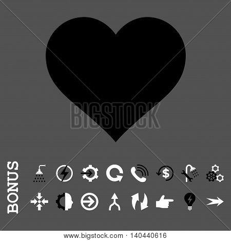 Love Heart vector bicolor icon. Image style is a flat iconic symbol, black and white colors, gray background.