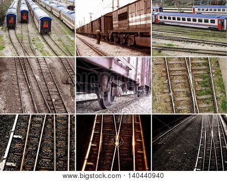 group of various train tracks and trains.