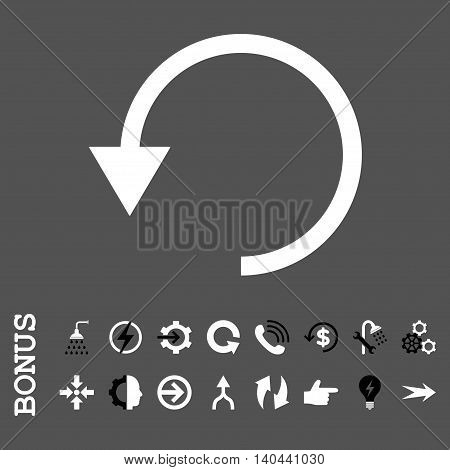 Rotate Ccw vector bicolor icon. Image style is a flat pictogram symbol, black and white colors, gray background.