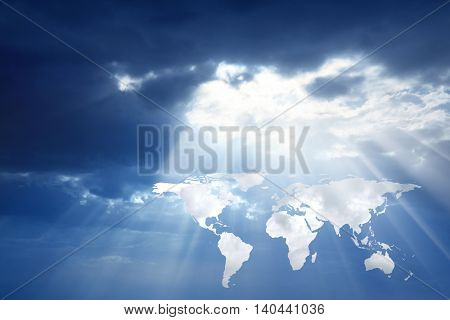 conceptual image of world map in sky. Furnished NASA world map image used for this image