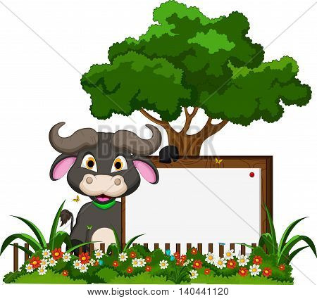 cute baby buffalo with blank sign and tropical forest background