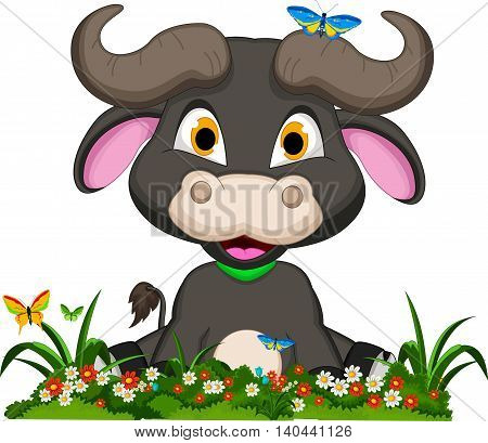 cute baby buffalo cartoon with tropical forest background