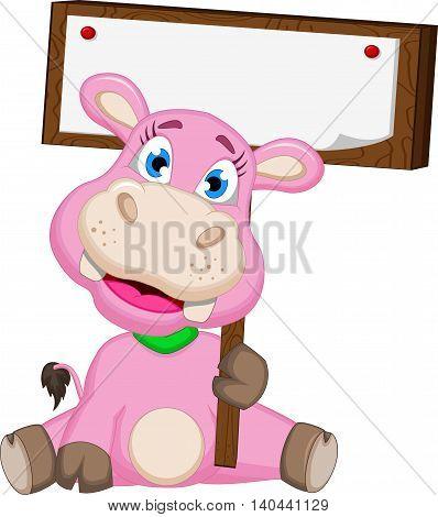 funny pig cartoon holding a blank board