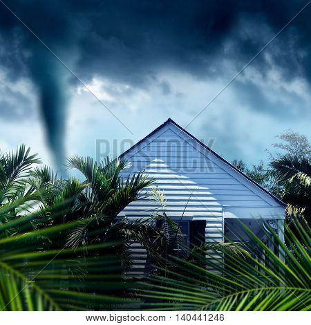 conceptual image of approaching storm and house
