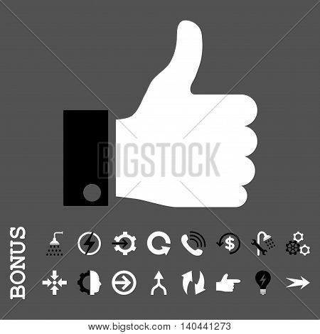 Thumb Up vector bicolor icon. Image style is a flat pictogram symbol, black and white colors, gray background.