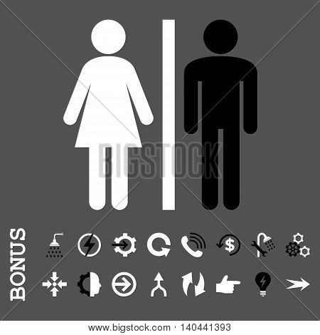 WC Persons vector bicolor icon. Image style is a flat pictogram symbol, black and white colors, gray background.