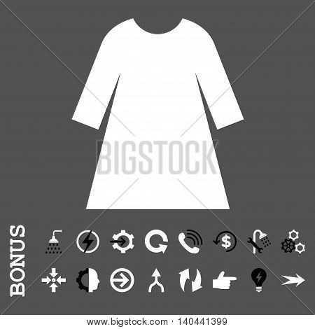 Woman Dress vector bicolor icon. Image style is a flat pictogram symbol, black and white colors, gray background.