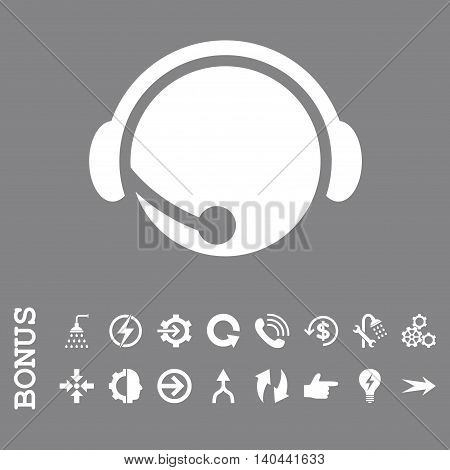 Call Center Operator vector icon. Image style is a flat pictogram symbol, white color, gray background.