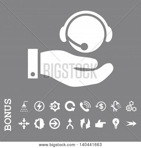 Call Center Service vector icon. Image style is a flat iconic symbol, white color, gray background.