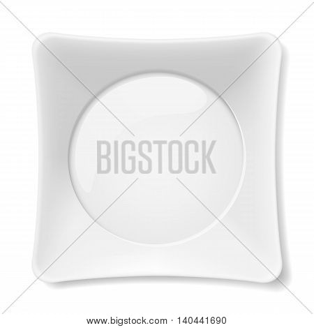 Empty white flat plate isolated on white background