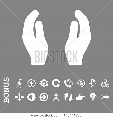 Care Hands vector icon. Image style is a flat iconic symbol, white color, gray background.