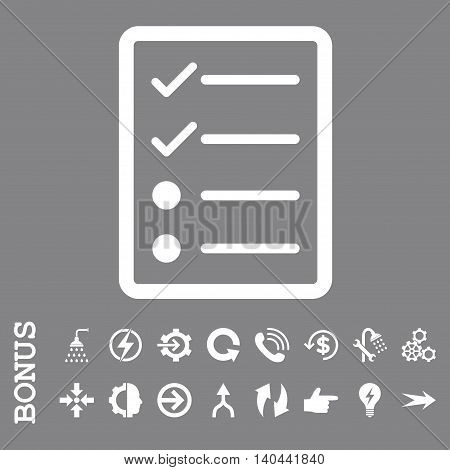Checklist Page vector icon. Image style is a flat iconic symbol, white color, gray background.