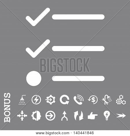 Checklist vector icon. Image style is a flat pictogram symbol, white color, gray background.