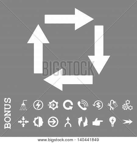 Circulation Arrows vector icon. Image style is a flat pictogram symbol, white color, gray background.