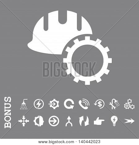 Development Hardhat vector icon. Image style is a flat pictogram symbol, white color, gray background.