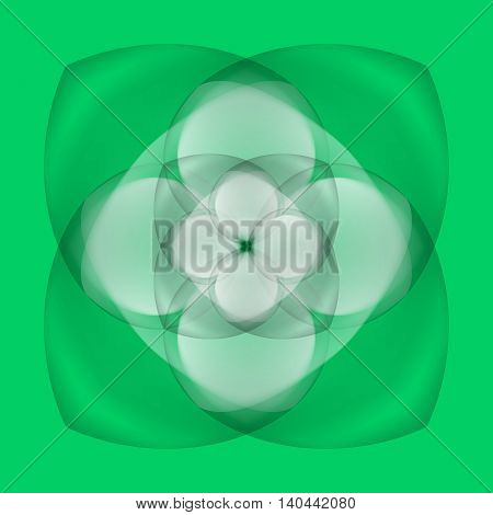 Illustration of abstract white flower with transparent elements on green background
