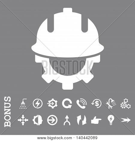 Development Helmet vector icon. Image style is a flat iconic symbol, white color, gray background.