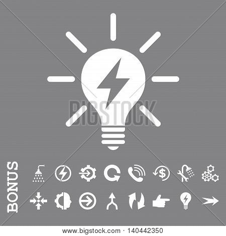 Electric Light Bulb vector icon. Image style is a flat iconic symbol, white color, gray background.