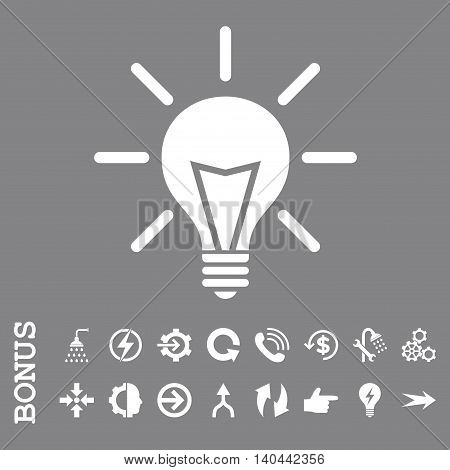 Electric Light vector icon. Image style is a flat iconic symbol, white color, gray background.