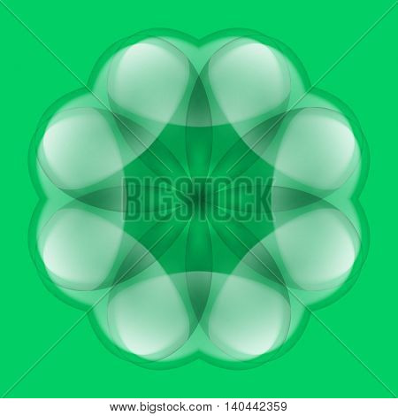 Abstract white flower with transparent elements on green background