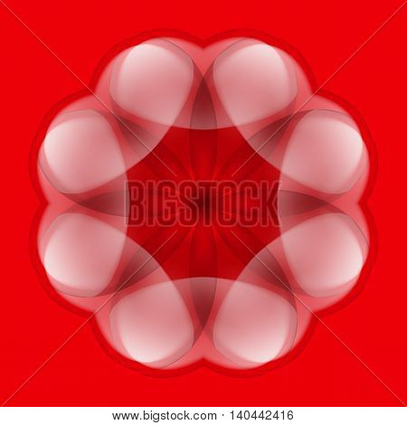 Abstract white flower with transparent elements over red