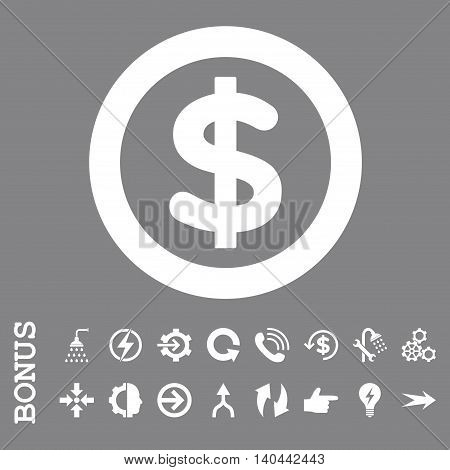 Finance vector icon. Image style is a flat pictogram symbol, white color, gray background.