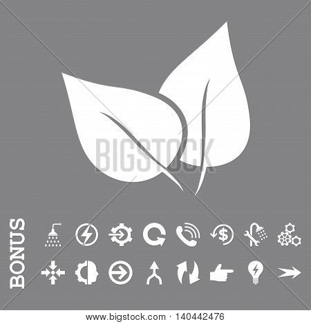 Flora Plant vector icon. Image style is a flat pictogram symbol, white color, gray background.