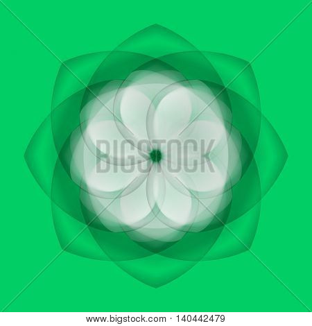 Abstract white flower with transparent elements over green