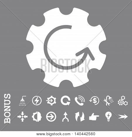 Gear Rotation vector icon. Image style is a flat pictogram symbol, white color, gray background.